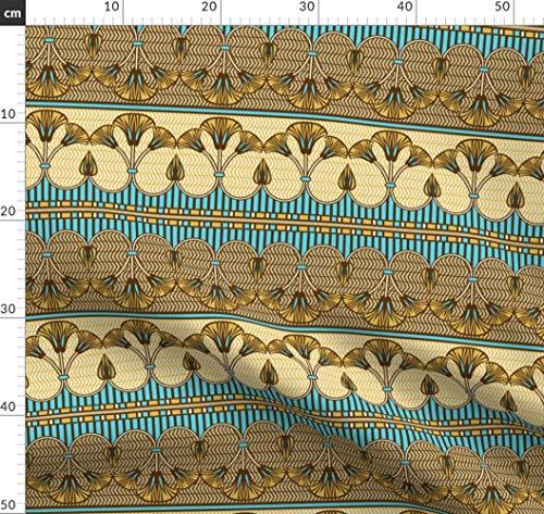 Ägypten, ägyptisch, Lilie, Bordüre, Antikes Ägypten, Dekorativ Stoffe - Individuell Bedruckt von Spoonflower - Design von Cjldesigns Gedruckt auf Jeansstoff