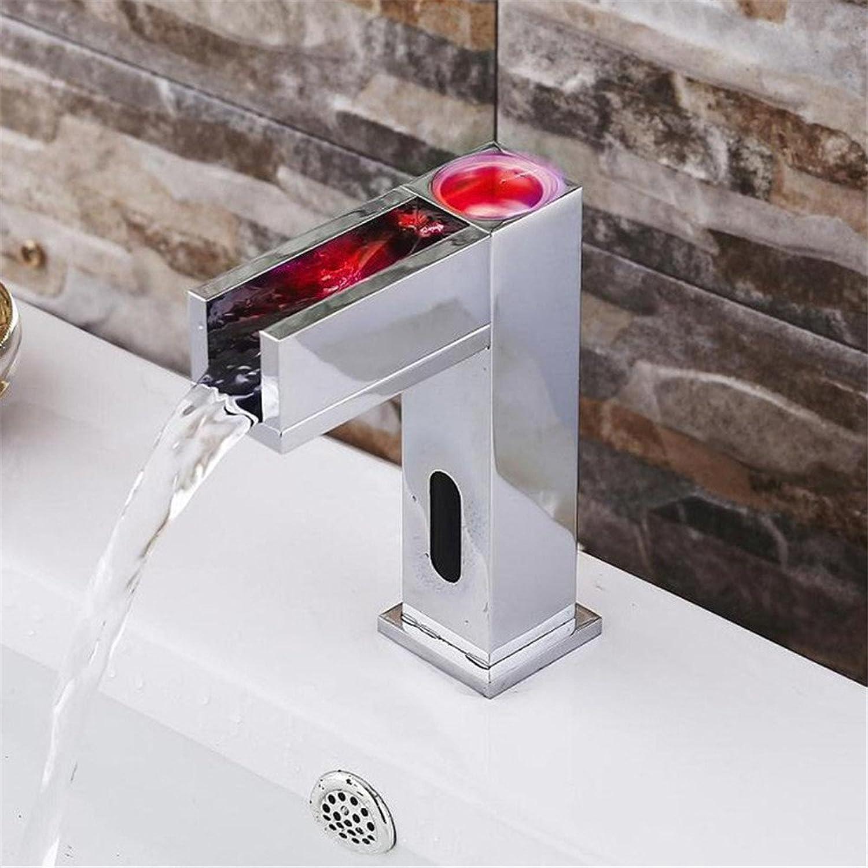 Bijjaladeva Antique Bathroom Sink Vessel Faucet Basin Mixer Tapall-copper temperature control LED lights 7 type mixing water sensing faucet Quartet-sensing ac dc basin sink Faucet