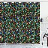 ABAKUHAUS Bunt Duschvorhang, Geometrisches Mosaik, mit 12 Ringe Set Wasserdicht Stielvoll Modern Farbfest & Schimmel Resistent, 175x200 cm, Mehrfarbig