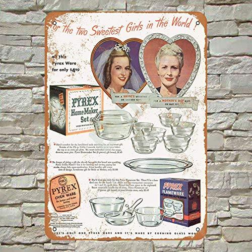 Ellis 1947 Pyrex - Juego letreros Metal Horno, diseño