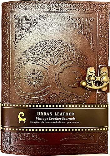 Urban Leather Journal - Sun Moon Journal - Handgefertigtes Vintage Skizzenbuch Schreib-Notizbuch, unliniert