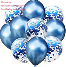 OSAYES Fiesta de cumpleaños Decoraciones Globos, Confeti y Globos de Plata Agata Azul marmol Blanco Royal y la luz Azul látex Globos para Boda Baby Shower Festival de Navidad