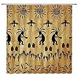 Southwestern Shower Curtain Native American Kokopelli Ethnic Sun Music Harvest Southwest VintageTribal Abstract Art Fabric Bathroom Decor Curtain with 12 Hooks,71x71 Inch,Brown Black