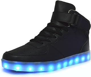 DoGeek - Chaussures Basket LED Lumineuse - Homme Femme Ou Garçon Fille - USB Rechargeable -7 Lumière Couleurs - pour Adult...