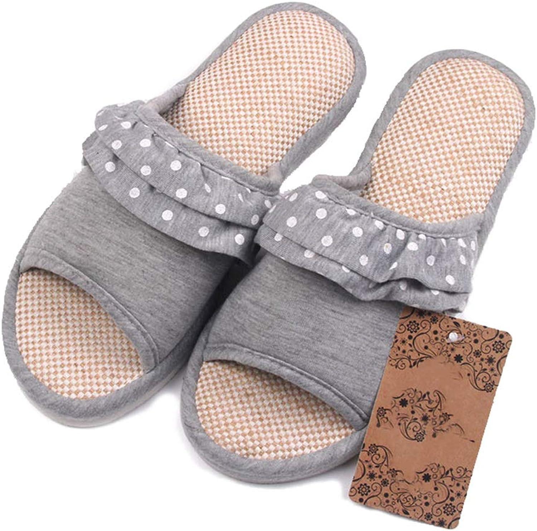 Nafanio Women Winter Sandals shoes Hemp Soft Lace Decoration Casual Female Fashion Home Flip Flops Slippers