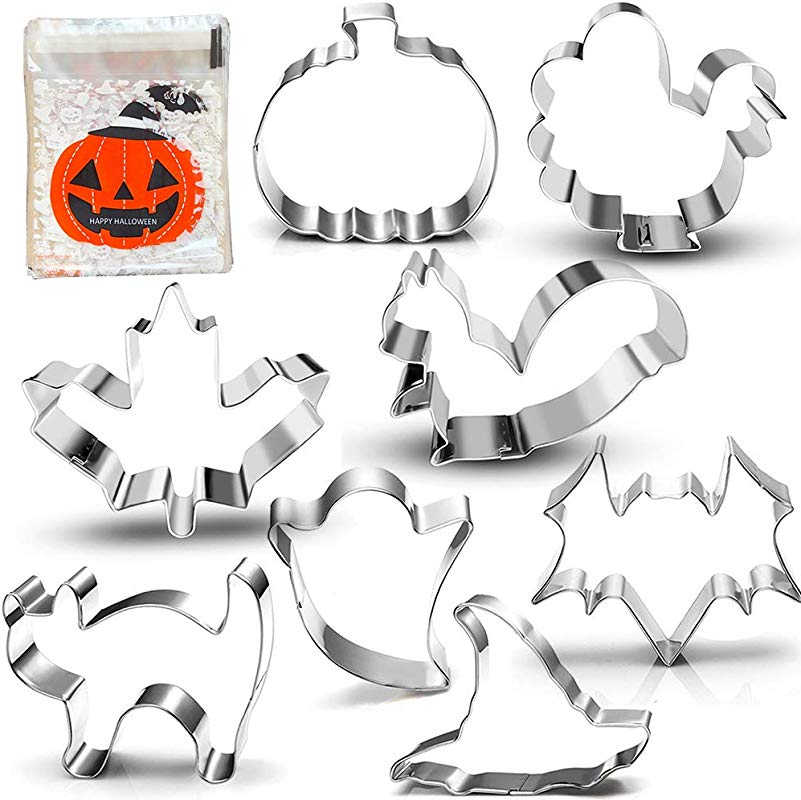 Halloween Thanksgiving Fall Cookie Cutter Set 3 Inches 8 Piece Pumpkin Turkey Maple Leaf Squirrel Bat Ghost Witch Hat And Cat With 100 Pack Cookie Candy Bag