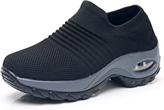 Sponsored Ad - Women's Walking Shoes Sock Sneakers - Mesh Slip On Air Cushion Lady Girls Modern Jazz Dance Easy Shoes Plat...