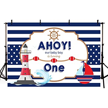 Zhy 7x5ft Nautical Theme Party Backdrop Watercolor Floral Hot Air Balloon Shark Photography Background for Boy Birthday Navigation Lighthouse Baby Shower Decorations Photobooth Cake