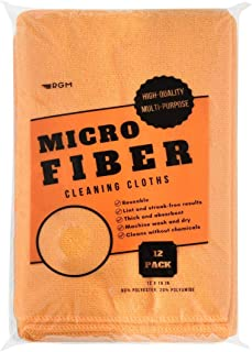 RGM Multipurpose Microfiber Cleaning Cloths (12 Pack). Wiping Microfiber Towels Higly Absorbent