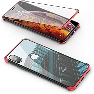 Compatible with iPhone 8 Plus / 7 Plus Frameless Case, Jonwelsy 360 Degree Front and Back Transparent Tempered Glass Cover, Strong Magnetic Adsorption Metal Bumper for iPhone 8+/7+ (5.5 inch) (Red)