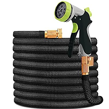 HYRIXDIRECT 50ft Garden Hose Expandable Water Hose Lightweight with Metal 8 Function Spray Nozzle Double Latex Core 3/4  Solid Brass Fittings Extra Strength Fabric Flexible Expanding Backyard Hose