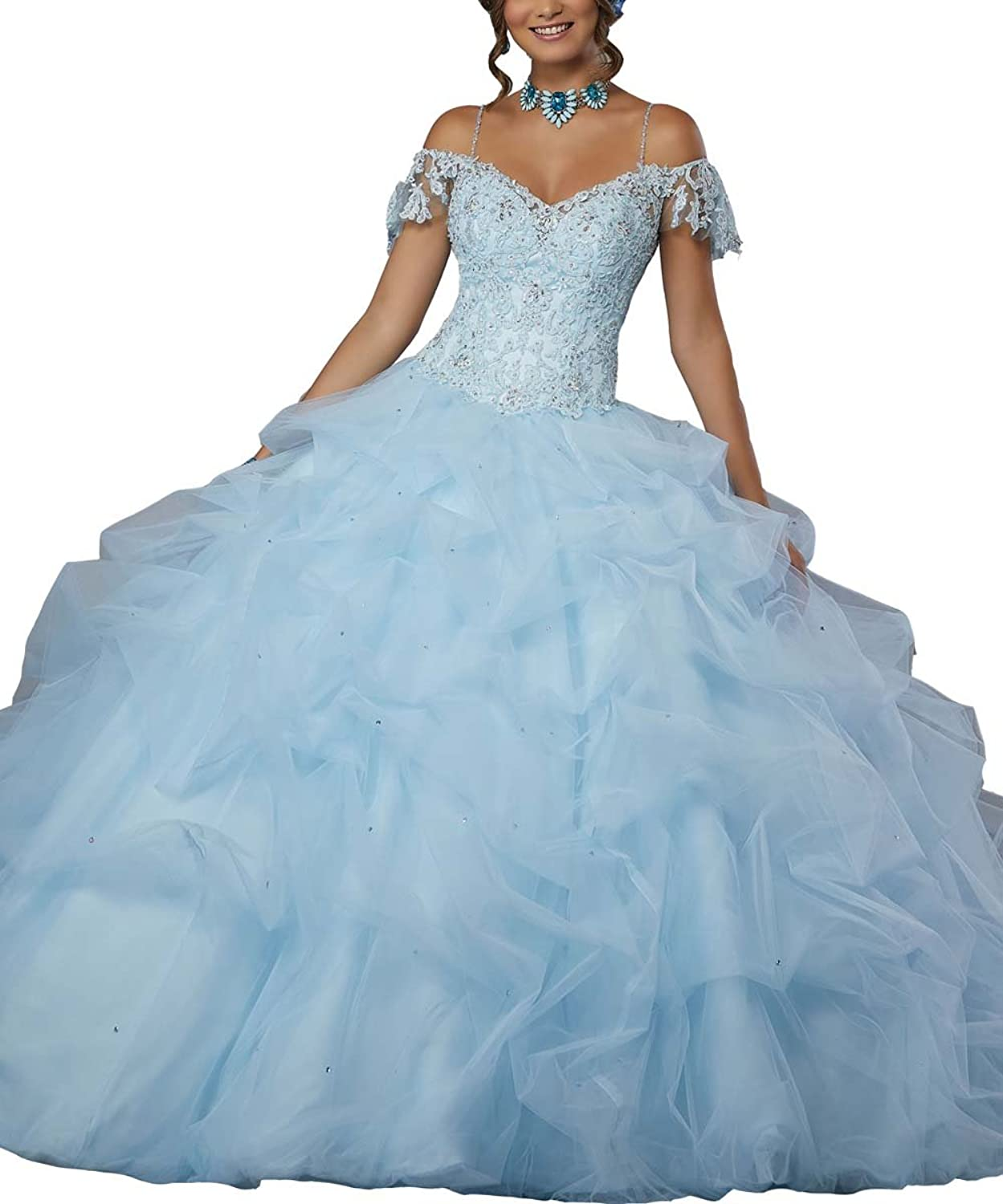 LastBridal Women Lace Appliques Organza Spaghetti Straps Sweet 16 Ball Gown Quinceanera Dresses with Crystal LB0007 bluee