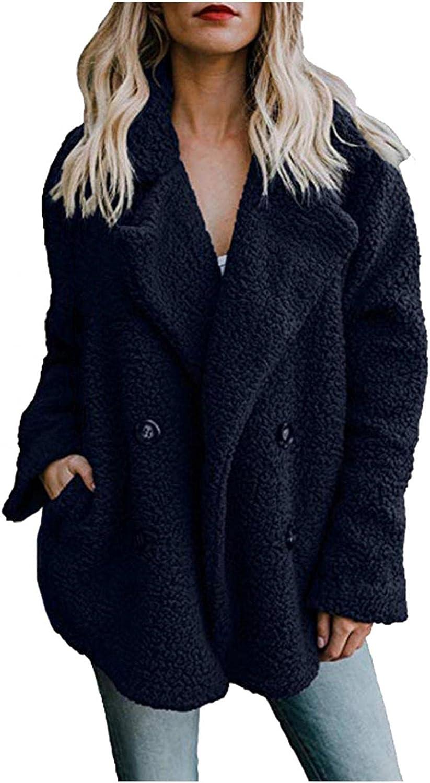Women's Long Sleeve Lapel Faux Shearling Shaggy Oversized Coat Jacket Warm Winter Open Front Fleece Outerwear