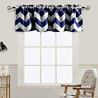 Melodieux Chevron Room Darkening Rod Pocket Window Curtain Valance for Living Room, 52 by 18 Inch, Navy (1 Panel)