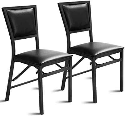 """Haoshuo New Furniture Portable Fashion Portable Home Decoration Hao Shuo New Home Chair 2 Sets of Metal Folding Chairs, Dining Chairs, Family Restaurant Portable Furniture (18"""" X 20"""" X 33.5"""") Reading"""
