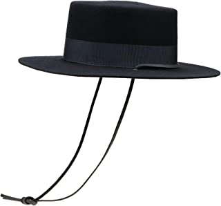 Wide Brim Flat Top Wool Fedora Hats for Women with Bowknot and Chin Strap