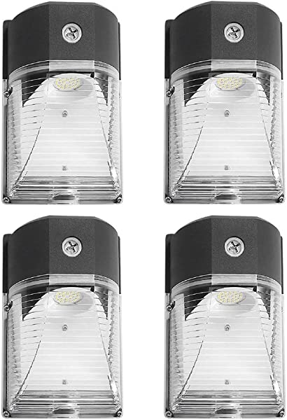 CINOTON LED Wall Pack Light 26W 3000lm 5000K Dusk To Dawn Photocell Waterproof IP65 100 277Vac 150 250W MH HPS Replacement ETL DLC Listed 5 Year Warranty Outdoor Security Lighting 4pack
