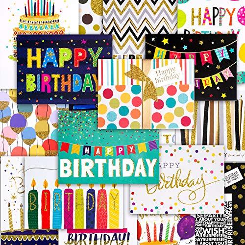 18 Geburtstagskarten mit umschlag Geburtstagskarte Grusskarte Glückwunschkarte geburtstagskarten für kinder Mann Frau, Grusskarte zum Geburtstag mit feiner Goldprägung und Umschlag