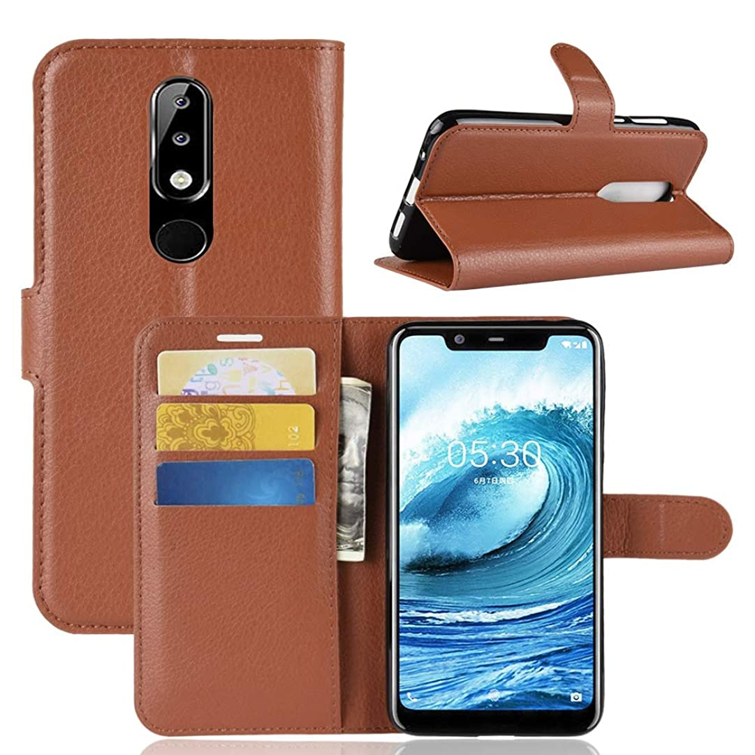 自発発行ソーセージKMLP Nokia 5.1 Plus (X5)用、財布&ホルダー&カードスロットのためのリッチテクスチャ横フリップレザーケース KMLPカバー (Color : Brown)