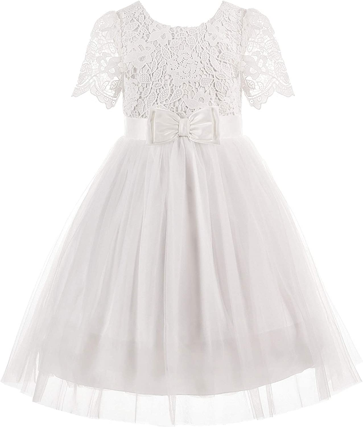 ReliBeauty Ivory Lace First Communion Flower Girl Dress