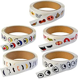 Eye Stickers Lables, Jerbro 5 Rolls of Cute Colorful Eye Mouth Nose Moustache Sticker Labels Novelty Stickers for Crafts