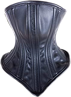 Yilu Black Leather Face & Neck Mask,Integrated Strap-on Soft and Breathable PU Head Mask,Outdoor Portable Windproof Neck Mask, Used for Outdoor Sports Cosplay Games