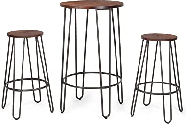 COSTWAY 3 Pieces Bar Table Set with 2 Stools Round Height Steel Pub Dining Bistro Table Set Coffee