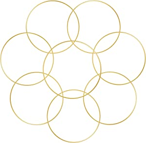 Sntieecr 8 PCS Gold Metal Floral Hoop Wreath Macrame Gold Hoop Rings for DIY Wedding Wreath Decor, Dream Catcher and Macrame Wall Hanging Crafts (8 Inch)