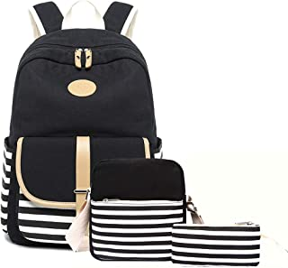 Lmeison Waterproof Backpack for Women Girls, College Bookbag with Canvas Crossbody Bag Pencil Case, Striped Travel Daypack Canvas 15 Laptop Bag for School, Black