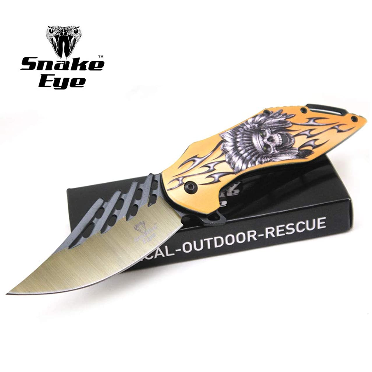 Snake Eye Tactical Every Day Carry Fantasy Skull Design Folding Knife | Outdoor Survival Pocket Knife | Small one-Hand Knife Made of Stainless Steel Blade