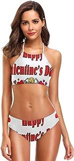 Women Two Piece Bikini Swimsuit Valentine's Day Cupid Envelope Padded Vintage Eres Swimsuit