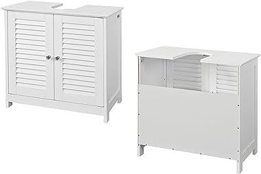 SoBuy® FRG237-W Meuble sous-Lavabo Meuble de Salle de Bain Vasque - 2 Portes et 2 étages à l'intérieur -Blanc