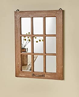 The Lakeside Collection Distressed Wood Windowpane Mirror - Rustic Home Decoration - Natural