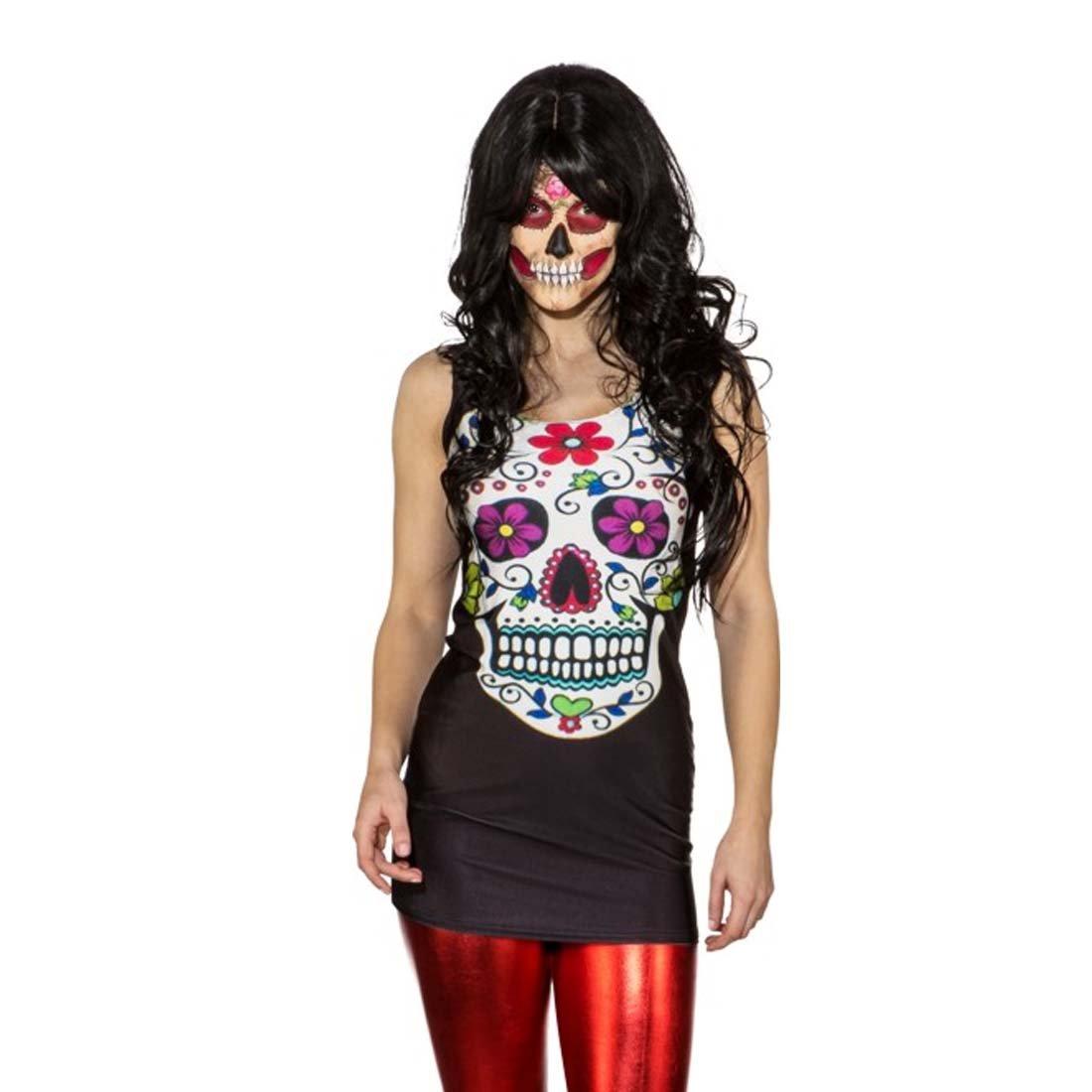 Amakando Minivestido Día de los Muertos Vestido Sexy Sugar Skull S/M 34 - 40 Camisa Larga Calavera Disfraz Halloween Mujer La Catrina Vestido ceñido Ropa de Mujer Fiesta Mexicana: Amazon.es: Juguetes y