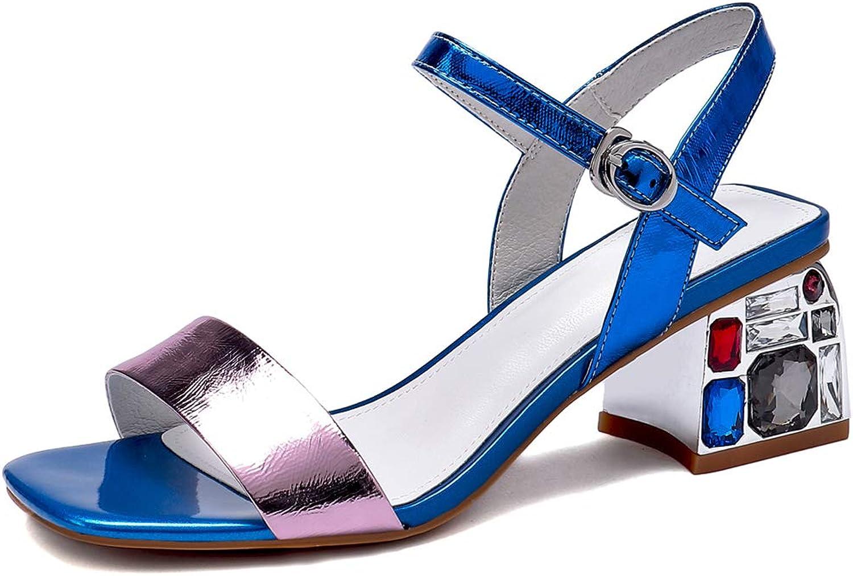 7c24e2533c5a8 Dulce Diva Leather Square Rhinestone Exquisite Heel Handmade Sandal ...