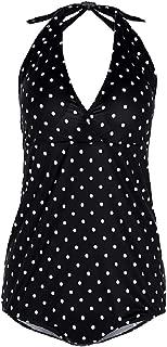 Women Polka Dots Maternity Halter Backless V Neck One Piece Swimwear
