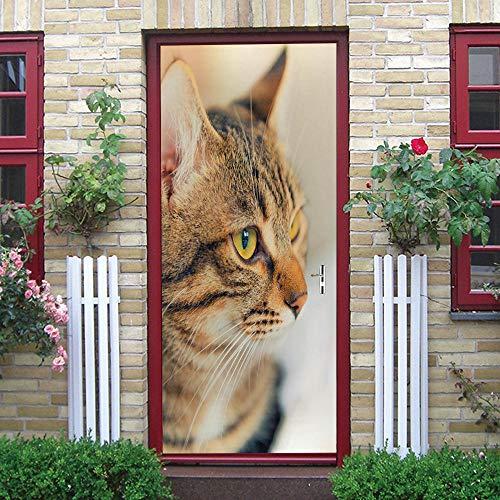 JSDGJSG Türtapete selbstklebend Katze,TürPoster 3D Bewirken Fototapete Türfolie Poster Tapete,Türwandbild für Wohnzimmer Badezimmer Bad büro Schlafzimmer,77 x 200 cm