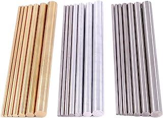 Glarks 21pcs 3 Sets of Metals Round Rod Lathe Bar Stock for DIY Craft Tool, Diameter 2mm..