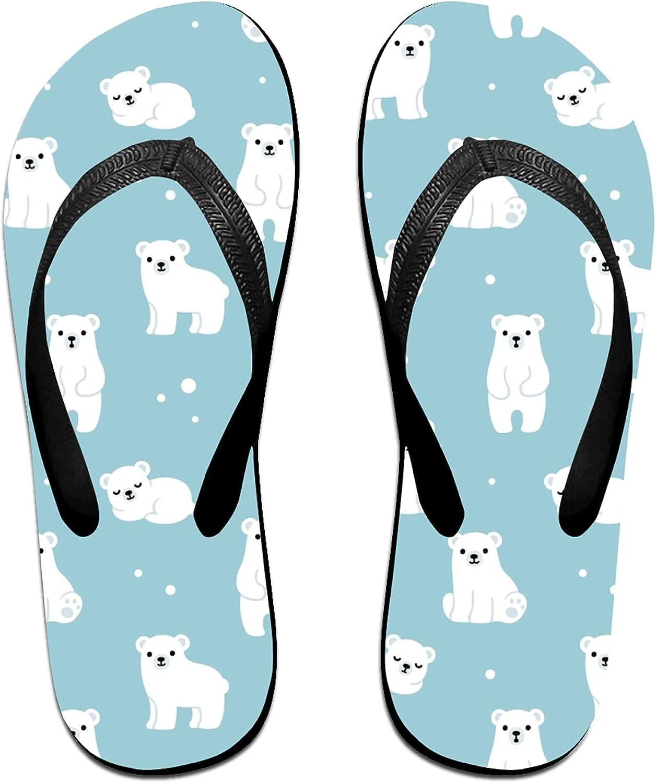 Lovely Bears on Blue Flip-Flop Sandals for Summer Beach, Slippers for Men Women