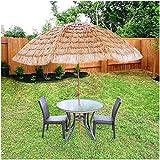 WUKALA Foldable Thatch Patio Tiki Umbrella,8 Ribs Sturdy and Stable Straw Parasol Umbrella Will not Drop Grass,for Beach Lawn Terrace Outdoor Umbrella