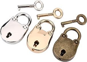 3 Set Mini hangsloten met sleutels, Mini Beer Vorm hangslot, Vintage Antieke Stijl Hangsloten met Sleutels voor Handtas De...