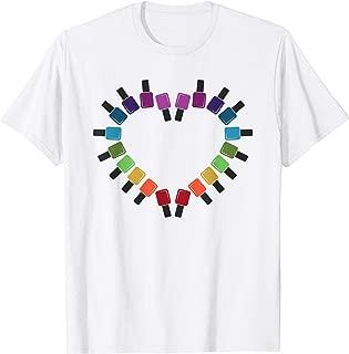 Nail Polish Inspired Heart Rainbow Bottle T-Shirt