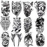 12 hojas de tatuajes temporales para hombres, león, tigre, animales, búho, mujeres, cráneo, resistente al agua, falsificado, negro, tatuaje temporal para hombres, brazos, piernas, pecho y espalda