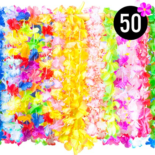 PartySticks Hawaiian Leis Bulk Luau Party Decorations - 50 Hawaiian Necklace Faux Silk Flower Leis, Luau Party Supplies