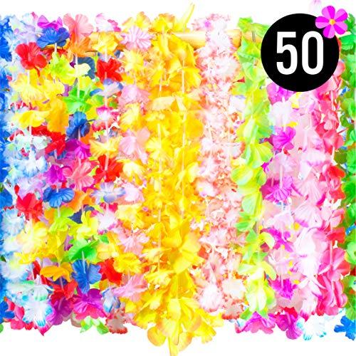 PartySticks Hawaiian Leis Bulk Luau Party Decorations - 50 Hawaiian Necklace Faux Silk Flower Leis, Luau Party Supplies