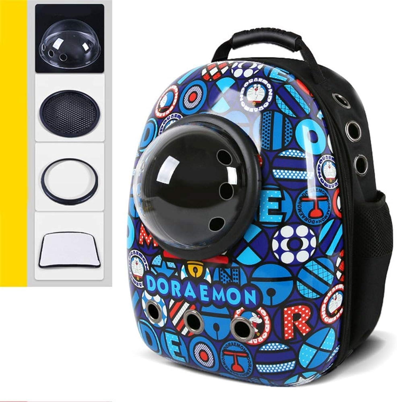 FELCIOO Cat Bag Pet Bag Out Portable Backpack Breathable Space Bag Pet Backpack Cat Cage (color   2, Size   43  30  22cm)