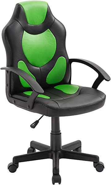 Techni Mobili Faux Leather Adjustable Racing Kids Game Chair In Green