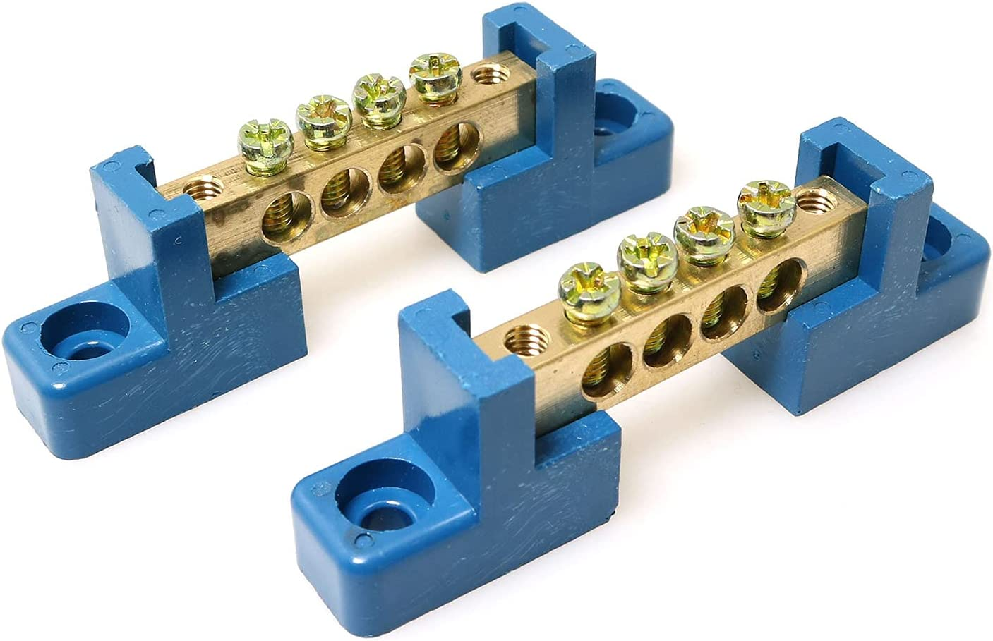 RLECS Super sale Selling and selling 2pcs Terminal Bus Bar 4 Block Positions Brass Wir