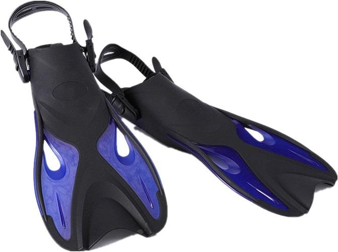 Palmes légères de natation de palmes de plongée plongées de palmes pour la natation, la plongée en apnée, l'activité aquatique Snorkeling adulte plein pied ( Couleur   Bleu , Taille   L XL (42-45) )