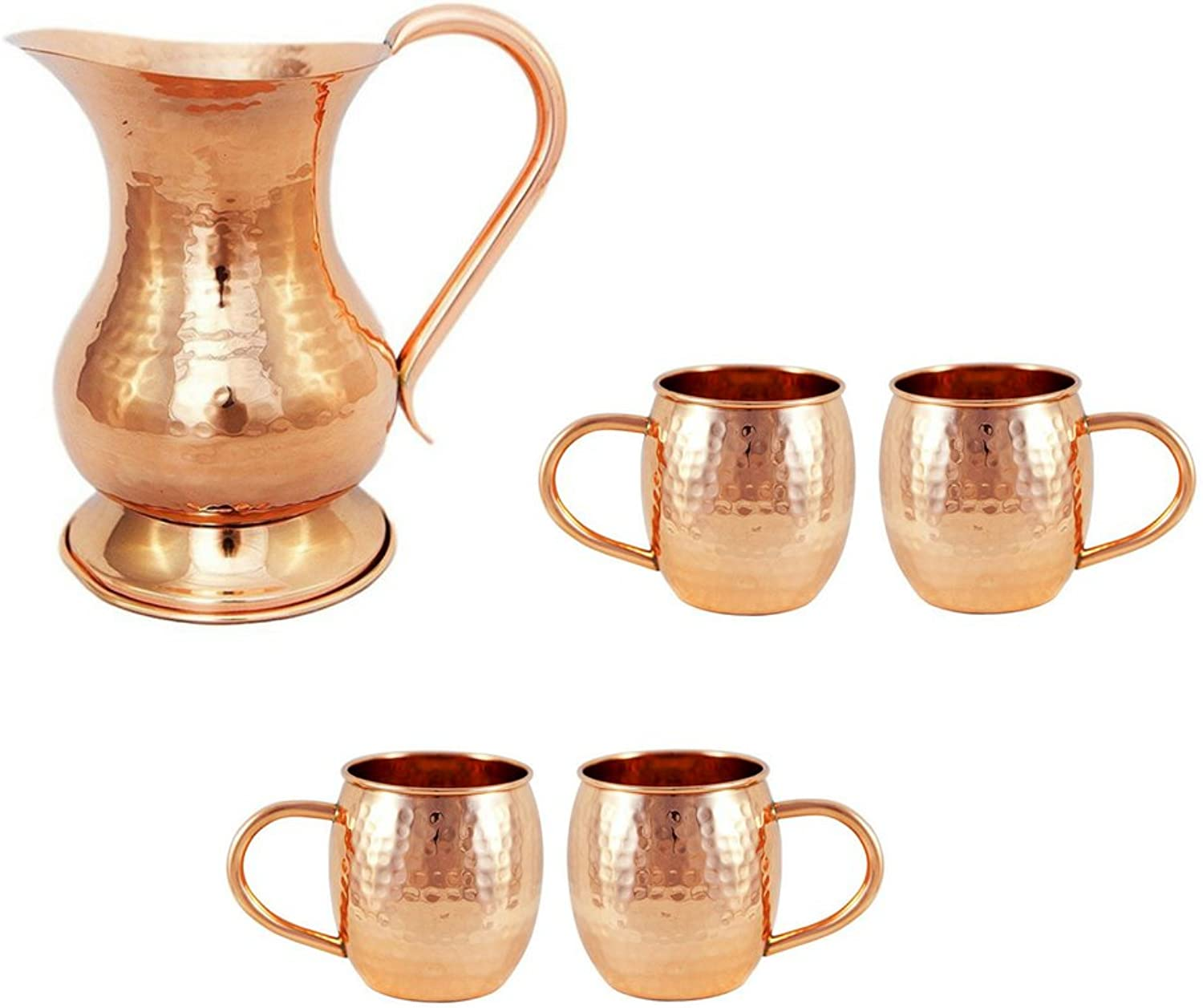 Copper Pitcher & Moscow Mule Mug Set of 4 Cups   Copper Set  Perfect Wedding Summer Gift by Alchemade